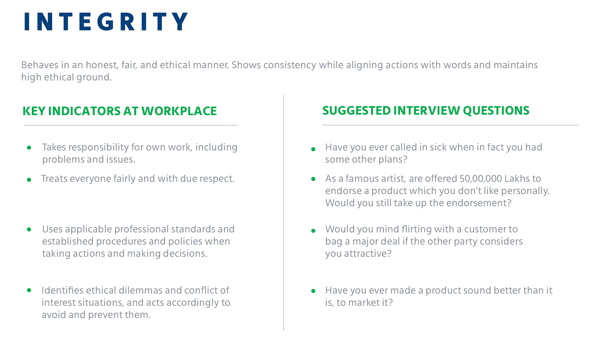 interview questions to identify integrity at workplace
