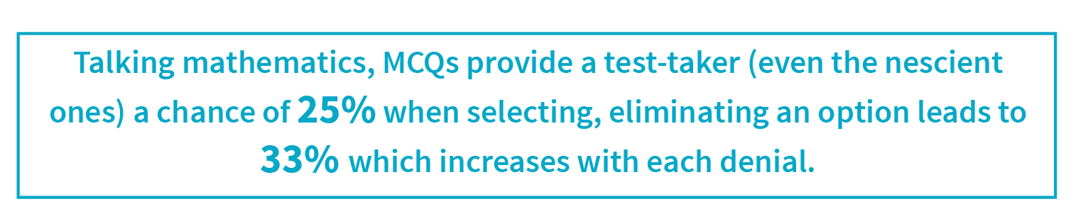 MCQs provide a test-taker