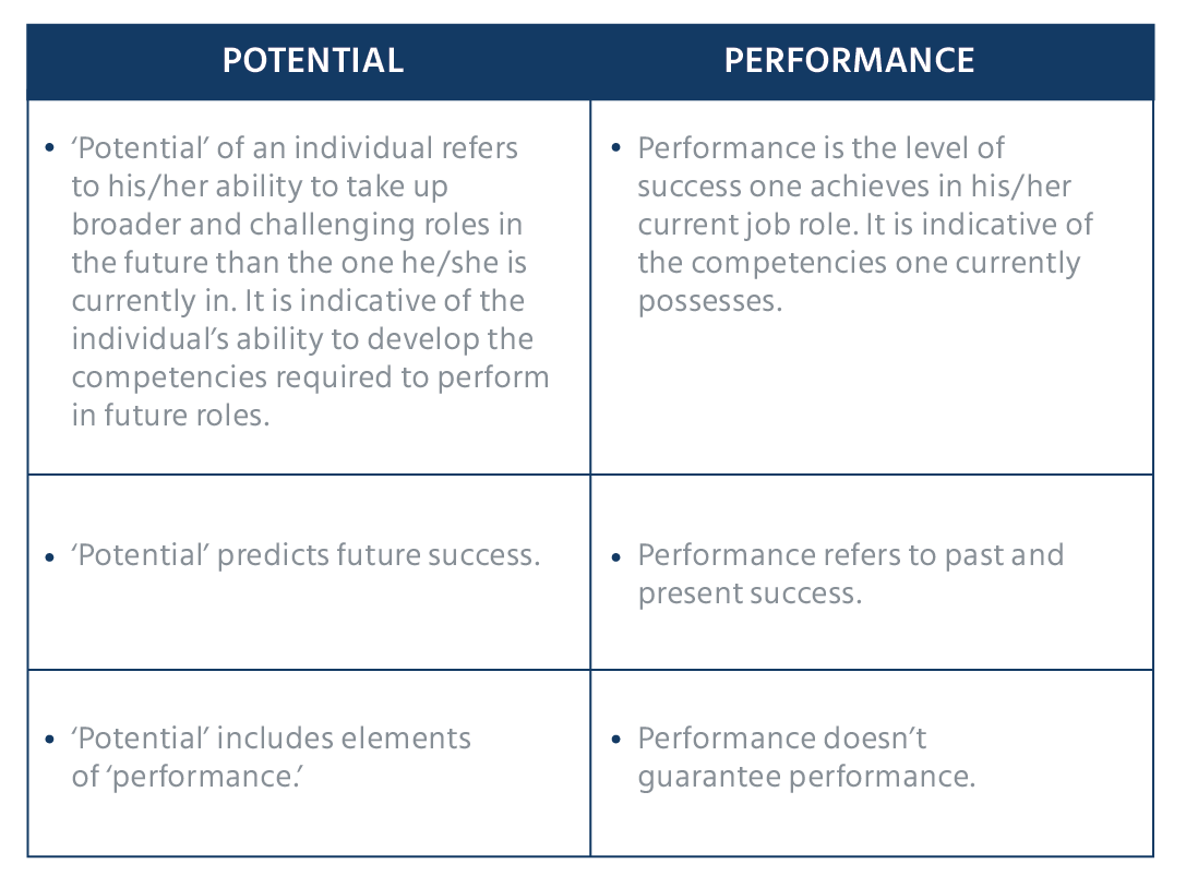 difference between performance and potential